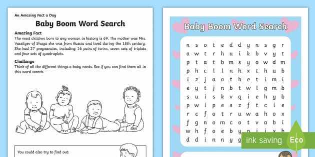 Baby Boom Word Search - Amazing Fact Of The Day, activity sheets, powerpoint, starter, morning activity, December , word sea