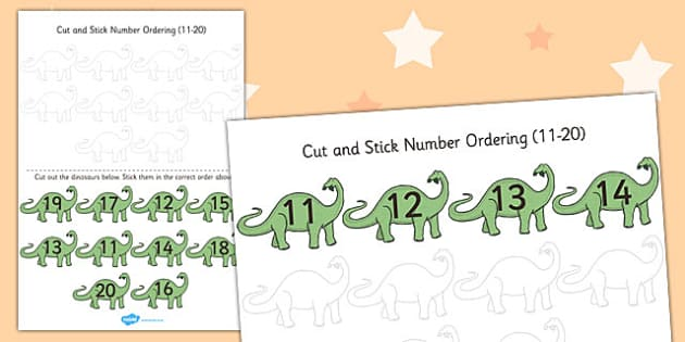 Dinosaur Themed Cut and Stick Number Ordering Activity 11-20