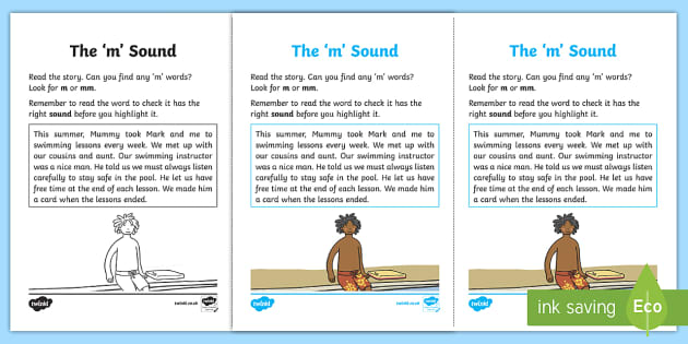 Northern Ireland Linguistic Phonics Stage 5 and 6 Phase 3a, 'm' Sound Activity Sheet - Linguistic Phonics, Phase 3a, Northern Ireland, 'm' sound, sound search, text, Worksheet