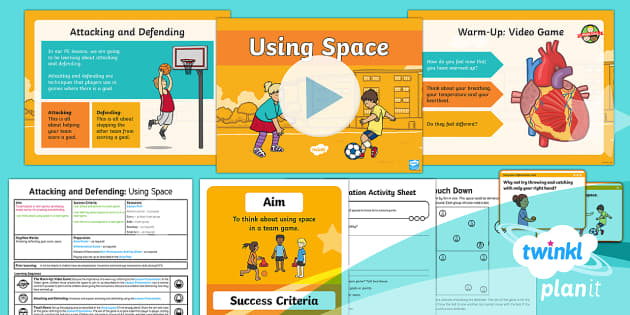 PlanIt - PE Year 1 - Attacking and Defending Lesson 1: Using Space Lesson Pack  - Attacking, defending, space, team, game, touch down, physical, education, ks1, year, 1, one, plannin