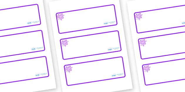 Purple Themed Editable Drawer-Peg-Name Labels (Blank) - Themed Classroom Label Templates, Resource Labels, Name Labels, Editable Labels, Drawer Labels, Coat Peg Labels, Peg Label, KS1 Labels, Foundation Labels, Foundation Stage Labels, Teaching Label