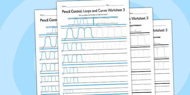Pencil Control Loops And Curves Worksheet 3 - pencil control