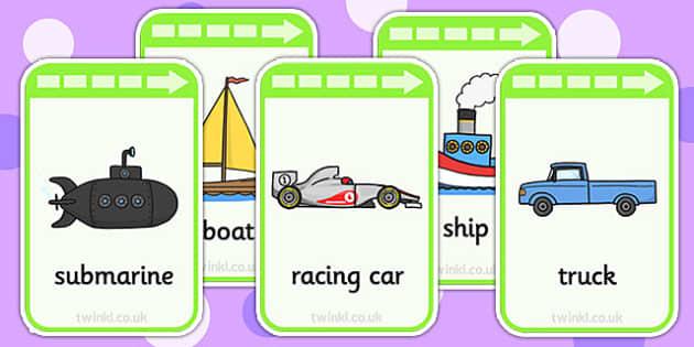 Transport Flashcards - transport, visual aids, word card, keyword