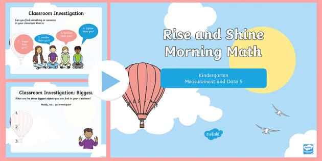 Rise and Shine Kindergarten Morning Math Measurement and Data 5 PowerPoint - Kindergarten Math, Measurement and Data, Biggest, Smallest, Heaviest, Lightest, Morning Work