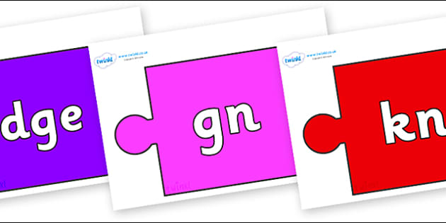 Silent Letters on Jigsaw Pieces - Silent Letters, silent letter, letter blend, consonant, consonants, digraph, trigraph, A-Z letters, literacy, alphabet, letters, alternative sounds