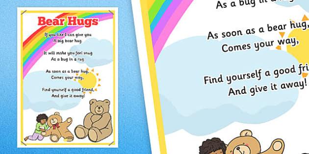 Bear Hugs Rhyme Poster - bear hugs, rhyme poster, display, rhyme