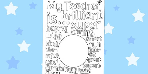 Gift to Teacher Describing Words Drawing and Colouring Sheet