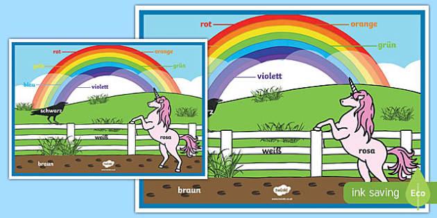 Póster Colores del arco iris - alemán