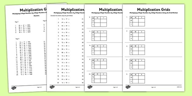 Multiplying 2 Digit Numbers by 2 Digit Numbers Using Grid Method – Maths Grid Method Worksheet
