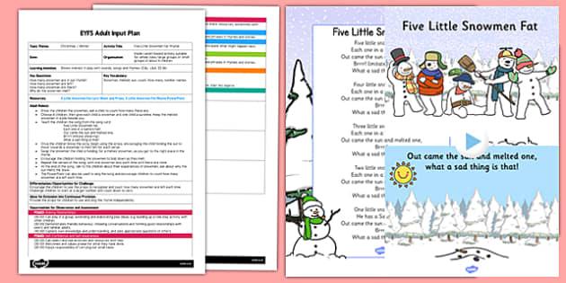 Five Little Snowmen Fat Rhyme EYFS Adult Input Plan and Resource Pack