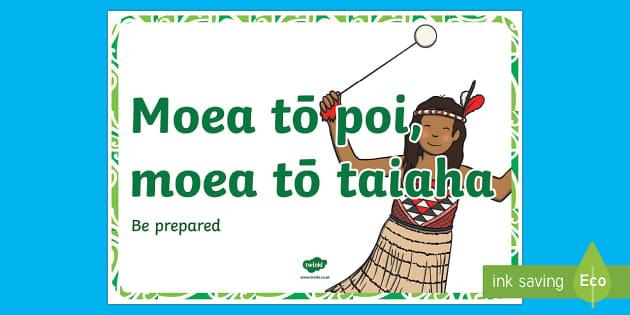 Whakatauki  Moea to poi, moea to taiaha Display Poster Te Reo Maori/English - proverb, whakatauki