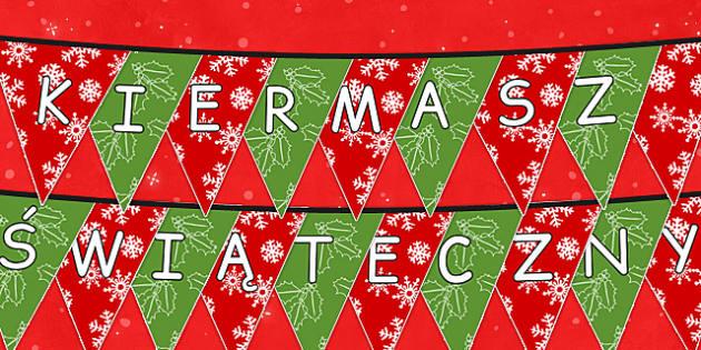 Girlanda z chorągiewek Kiermasz świąteczny po polsku - zima