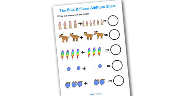 The Blue Balloon Addition Sheet - the blue balloon, addition sheet, addition worksheets, the blue balloon themed addition sheet, blue balloon themed