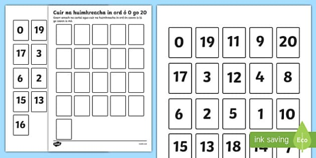 Ordering Numbers 0 to 20 Activity Gaeilge - gaeilge, ordering numbers, number sequence, less than 20, number cards, 20 cards, maths