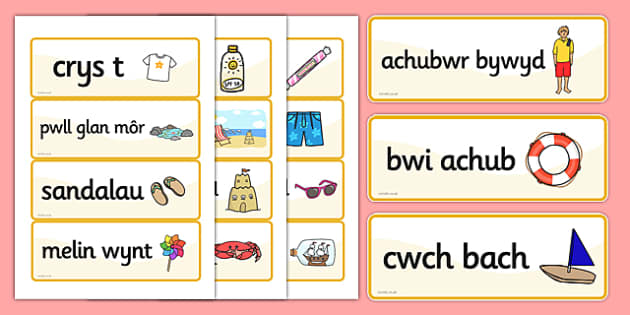 Seaside Word Cards Welsh - welsh, seaside, word cards, cards