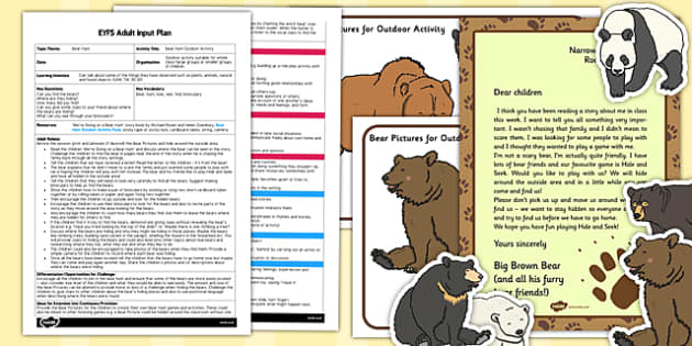 Outdoor Activity to Support Teaching on Bear Hunt EYFS Adult Input Plan and Resource Pack