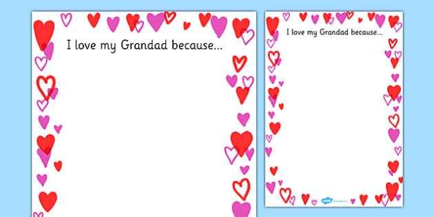 I Love My Grandad Because Page Borders - granddad, because, borders