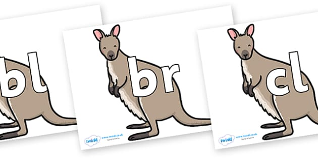 Initial Letter Blends on Wallaby - Initial Letters, initial letter, letter blend, letter blends, consonant, consonants, digraph, trigraph, literacy, alphabet, letters, foundation stage literacy