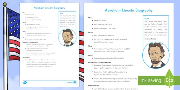 Abraham Lincoln Fast Facts Fact File - American Presidents, American History, Social Studies, Barack Obama, Lyndon B. Johnson, Franklin D.