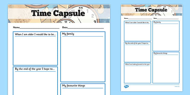 Time Capsule Transition Writing Frame writing frame time – Time Capsule Worksheet