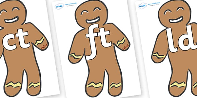 Final Letter Blends on Gingerbread Men - Final Letters, final letter, letter blend, letter blends, consonant, consonants, digraph, trigraph, literacy, alphabet, letters, foundation stage literacy