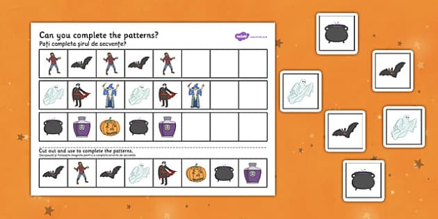 Halloween Complete the Pattern Worksheet Romanian Translation - romanian, halloween, hallowe'en