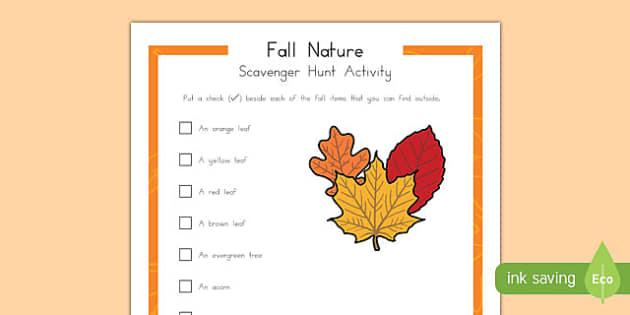 Fall Nature Scavenger Hunt Activity