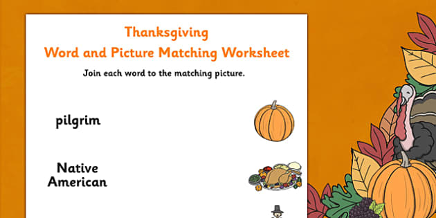 Thanksgiving Word and Picture Matching Worksheet - pictures