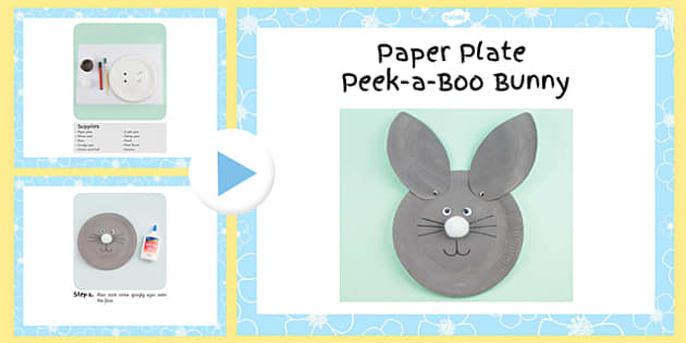 Paper Plate Peek-A-Boo Bunny Craft Instruction PowerPoint - craft, powerpoint