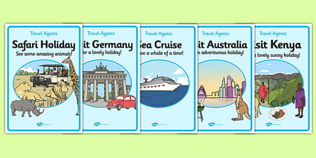 Travel Agents Advertising Posters - Travel agent, holiday, travel, role play, display poster, poster, sign, holidays, agent, booking, plane, flight, hotel