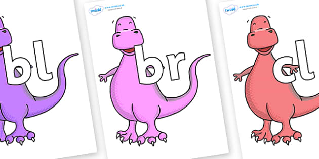 Initial Letter Blends on Tyrannosaurus - Initial Letters, initial letter, letter blend, letter blends, consonant, consonants, digraph, trigraph, literacy, alphabet, letters, foundation stage literacy