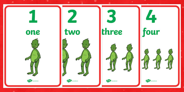 The Christmas Imp Words and Numbers 0-10 Display Posters - The Christmas Imp, the grinch,the grinch who stole christmas, christmas, green, imp, numbers, number