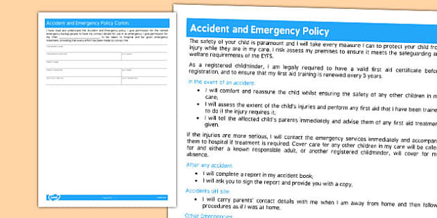 Accident and Emergency Policy for Childminders - childminders