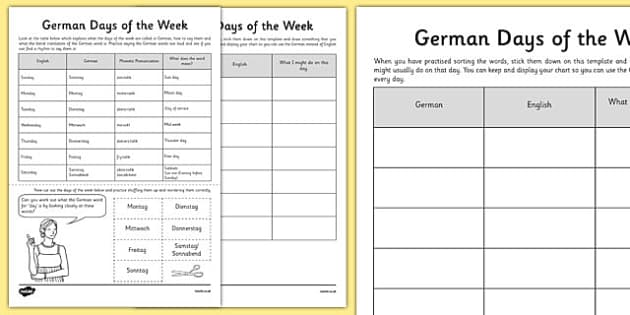 German Days of the Week - german, days of the week, days, week, language