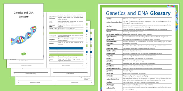 Genetics and DNA Glossary - Glossary, genes, DNA,  chromosomes, clones, natural selection