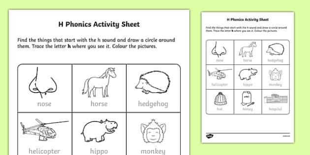 h Phonics Activity Sheet-Irish, worksheet