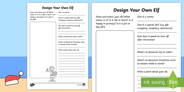 Design Your Own Elf Activity Sheet