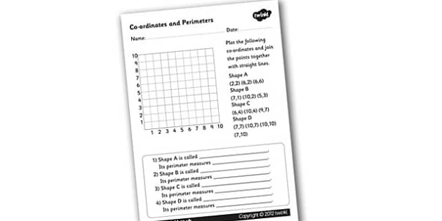 Coordinates and Perimeter Activity Sheet - perimeters, co-ordinates, co-ordinates and perimeters, ks2 numeracy, working out perimeters, ks2 numeracy worksheets