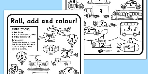 Transport Roll And Colour - transport, roll, colour, worksheets