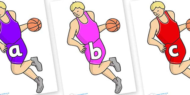 Phase 2 Phonemes on Basketball Player - Phonemes, phoneme, Phase 2, Phase two, Foundation, Literacy, Letters and Sounds, DfES, display