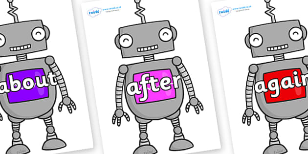 KS1 Keywords on Robots - KS1, CLL, Communication language and literacy, Display, Key words, high frequency words, foundation stage literacy, DfES Letters and Sounds, Letters and Sounds, spelling