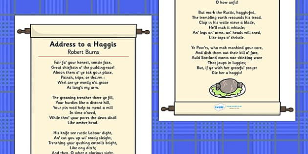 Address to a Haggis Display Poster - display, posters, A4 posters, poem, poetry, writing, creative writing, address to a haggis, address to a haggis poster, scotland, scottish, burns night, haggis, poster, classroom display posters