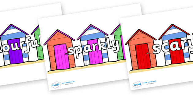 Wow Words on Beach Huts - Wow words, adjectives, VCOP, describing, Wow, display, poster, wow display, tasty, scary, ugly, beautiful, colourful sharp, bouncy