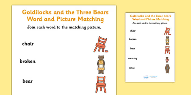 Goldilocks and the Three Bears Word and Picture Matching Worksheet ...
