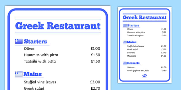 Greek Restaurant Role Play Menu - greek, restaurant, role play, menu