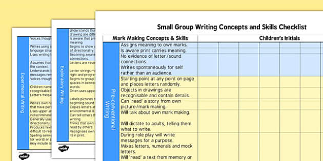 Developing Early Writing Small Group Checklist EYFS - developing, early writing, small group, checklist