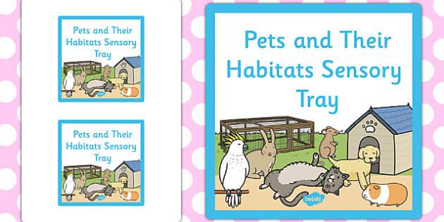 Pets and Their Habitats Themed Sensory Deep Tray Label - sensory