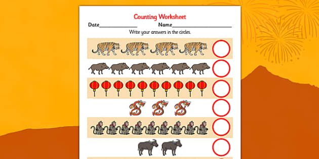 Chinese New Year Counting Worksheet Differentiated