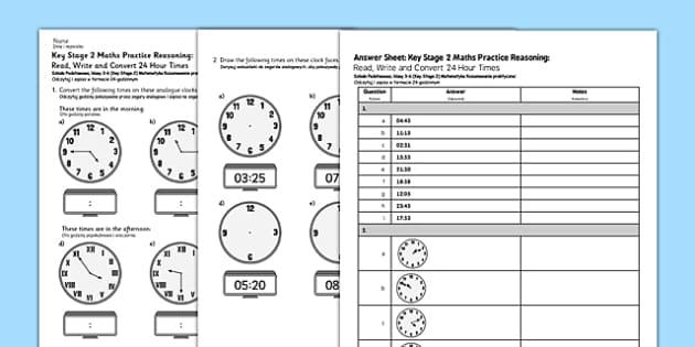 KS2 Reasoning Test: Practice, Read, Write and Convert 24 Hour Times Polish Translation - polish, Key Stage 2, KS2, Reasoning, Test, Practice, Measurement, Time