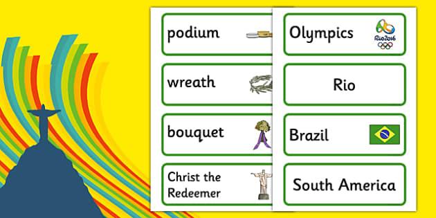 Rio Olympics 2016 Word Cards - rio olympics, rio, olympics, 2016, display banner, display, banner